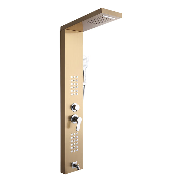 Shower Panel Shower System Stainless Steel Multi-Function Gold 18 Holes 48 inch