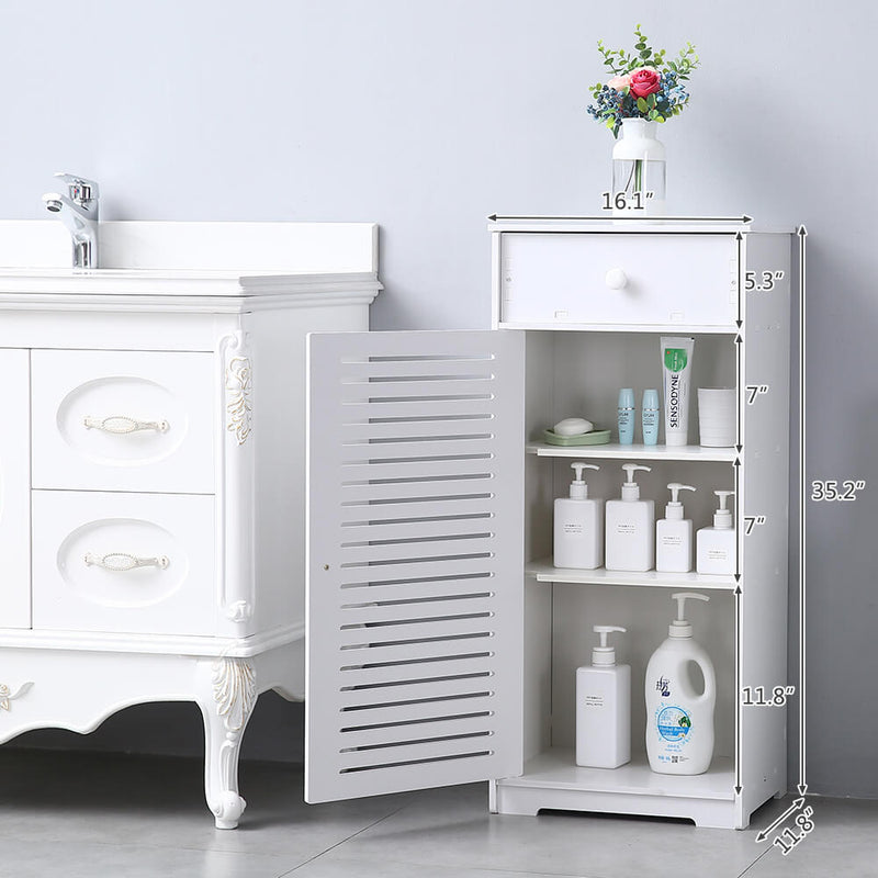 Single Door With Drawer Three Compartments High Storage Cabinet