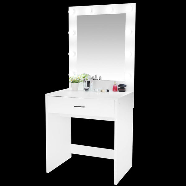 Large Mirror Single Drawer Dressing Table With Light Cannon White