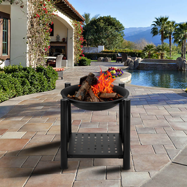 22'' Portable Outdoor Fire Pit Bowl with Shelf, Iron Brazier Wood Burning Patio & Backyard Firepit