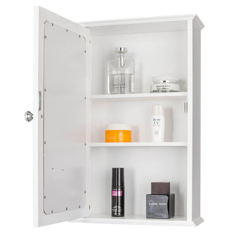 Wall Mounted Cabinet Shelf With Mirror White