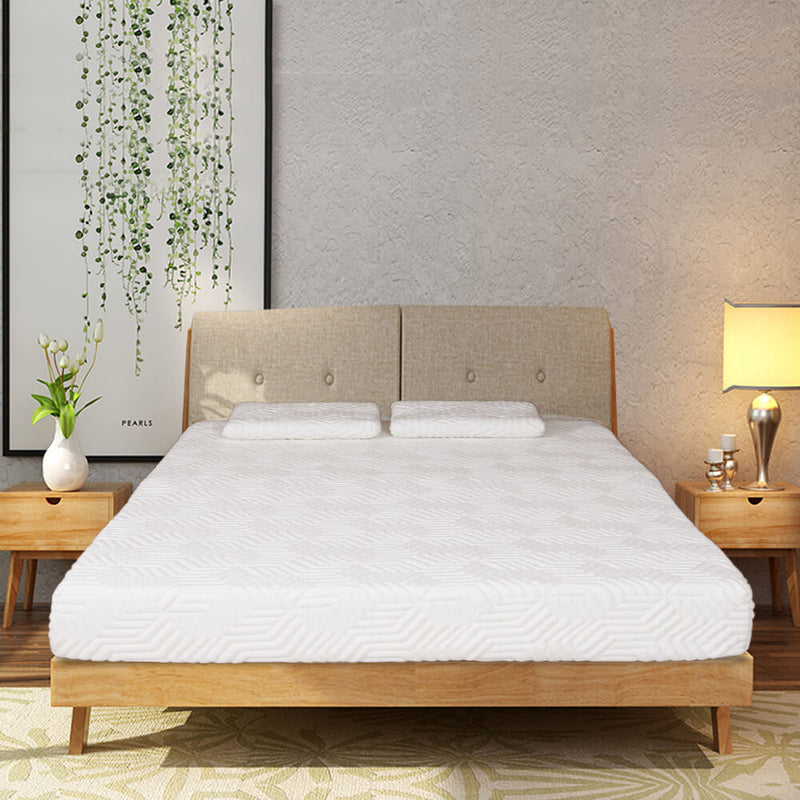 Three Layers Mattress with 2 Pillows (Queen Size) White 8 inches