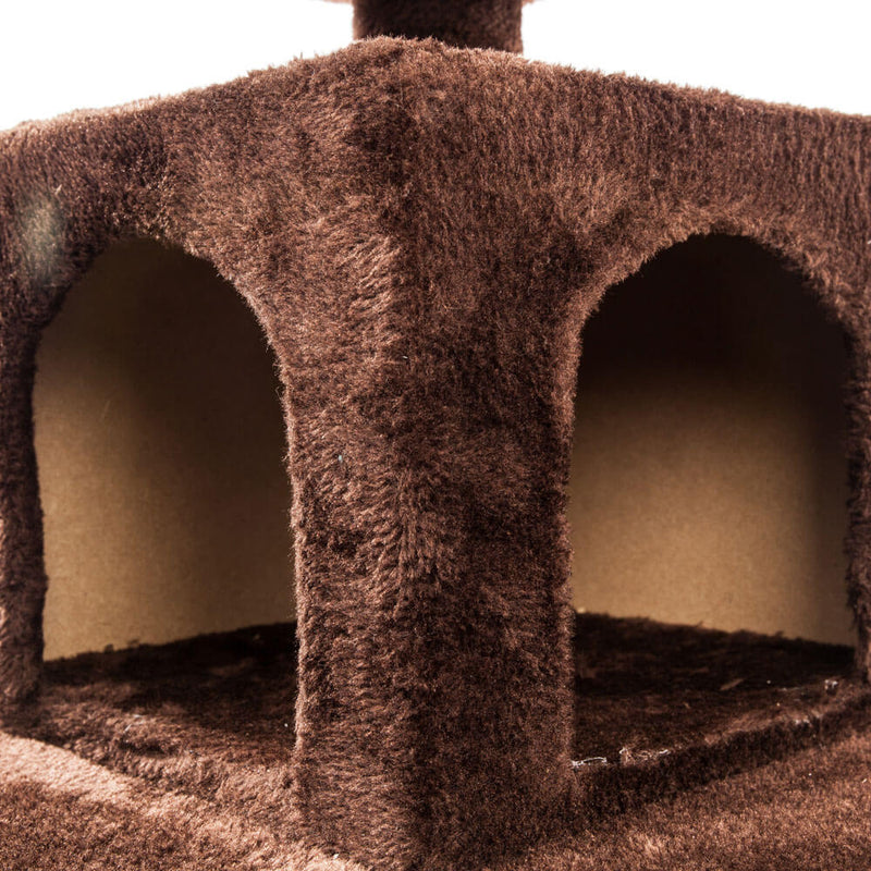 Solid Cute Sisal Rope Plush Cat Climb Tree Cat Tower Brown 52 inches