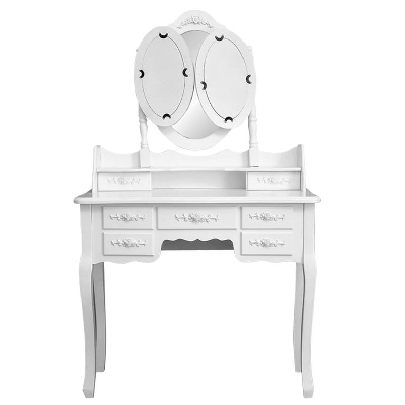 3 Mirrors with 7 Drawers Dressing Table White