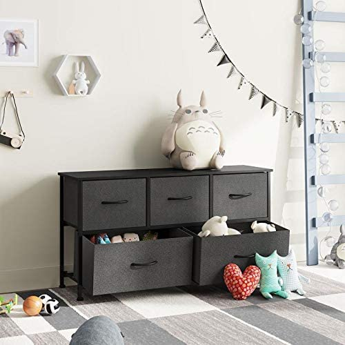 Dresser with 5 Drawers, Fabric Storage Tower, Organizer Unit for Bedroom, Hallway, Entryway, Closets, Sturdy Steel Frame, Wood Top, Easy Pull Handle