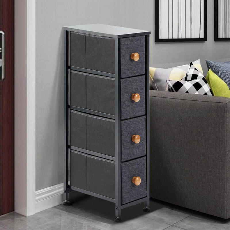 Dresser for Bedroom with 4 Drawers,Fabric Dresser Tower for Closets,Bedroom, Hallway- Sturdy Steel Frame, Wooden Top(Grey)