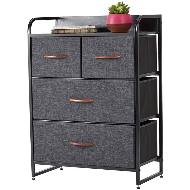 Dresser for Bedroom with 4 Drawers Fabric Tower for Closets Wooden Top Gray