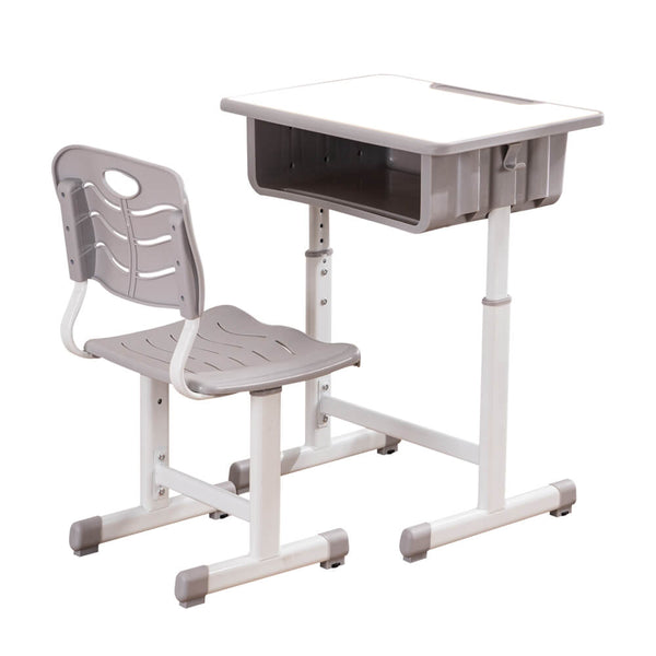 Lifting Children Multifunctional Study Desk and Chair Set with Storage Bin Gray