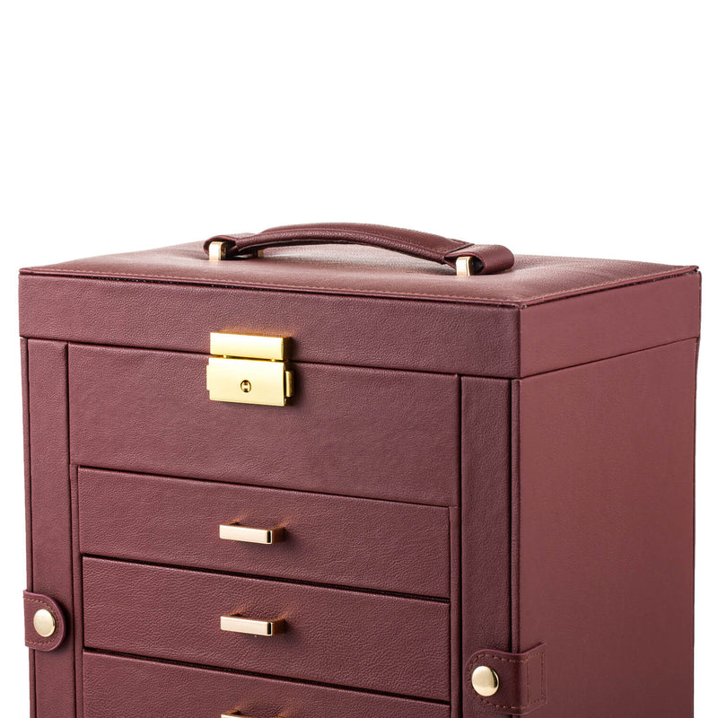 Synthetic Leather Huge Jewelry Box Mirrored Watch Organizer Storage Lockable Gift Case Brown