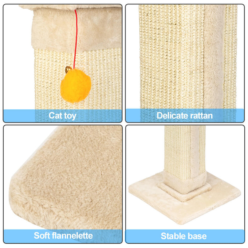 Cat Climb Holder Tower Cat Tree Cat Scratching Sisal Post Tree Climbing Tower Beige 21 inches