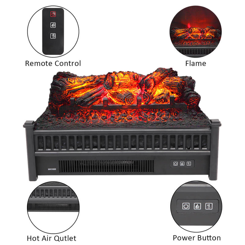 Fake Wood Without Frame Embedded 1400W Single Color Heating Wire With Small Remote Control Black 23 Inches