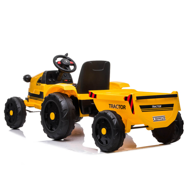 John Deere Ground Force Toy Tractor with Trailer For Kids Yellow
