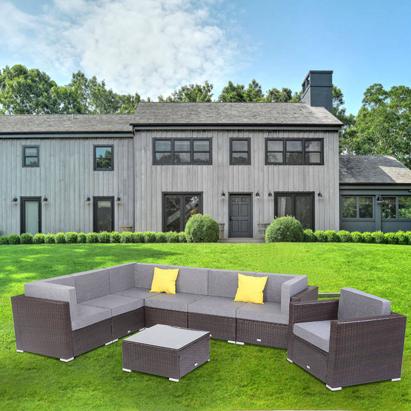 8 Pieces Patio PE Wicker Outdoor Patio Rattan Sectional Sofa Set