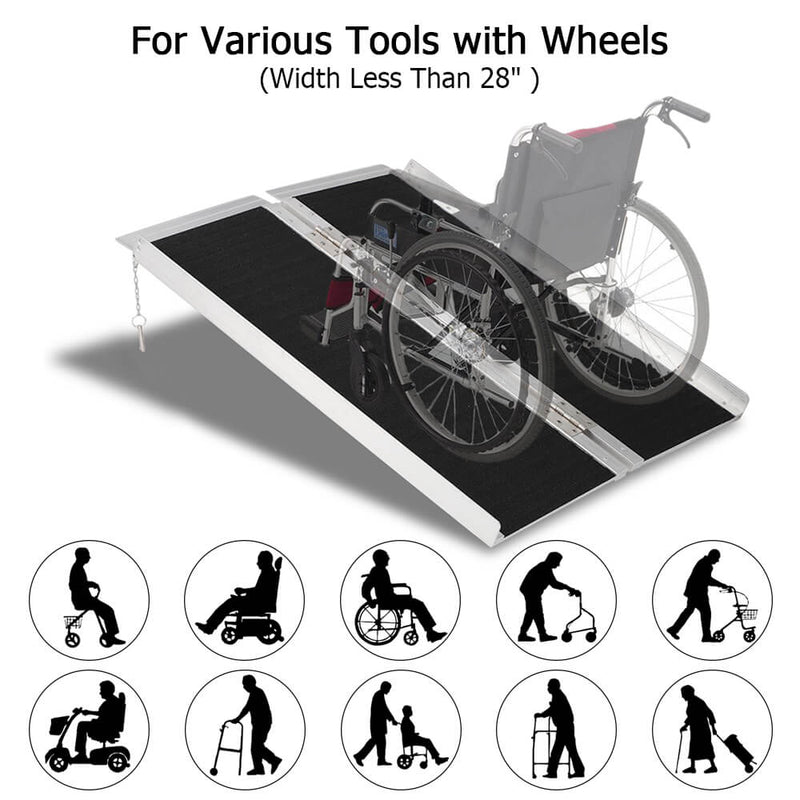 3FT Two-section Non-Skid Folding Lightweight Aluminum Alloy Wheelchair Scooter Mobility Ramps