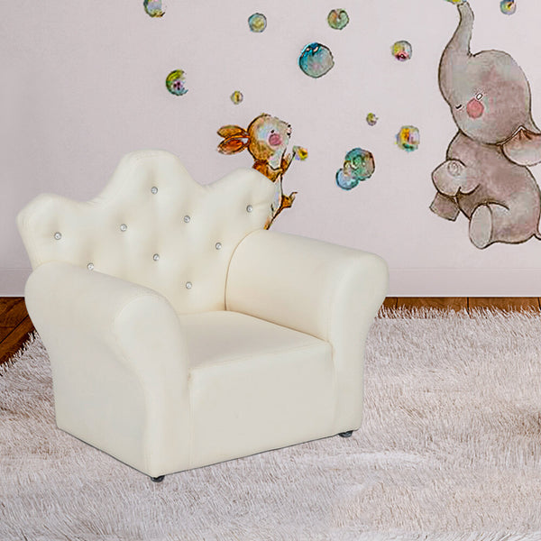 Kids Sofa With Upholstered Armchair with Ottoman Embedded Crystal White