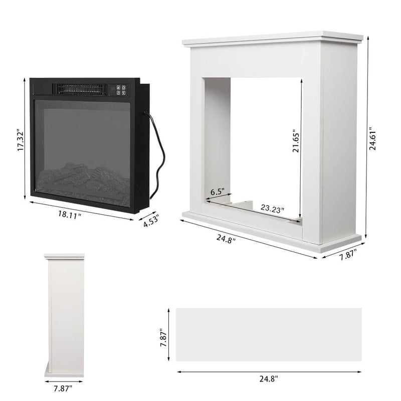 White Wood Cabinet Style 1400W Single Color Fake Wood Heating Wire With Small Remote Control Movement Black 18 Inches