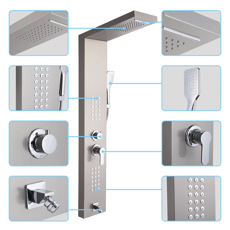 Shower System Shower Panel Stainless Steel Multi-Function Silver 18 Holes 48 inch
