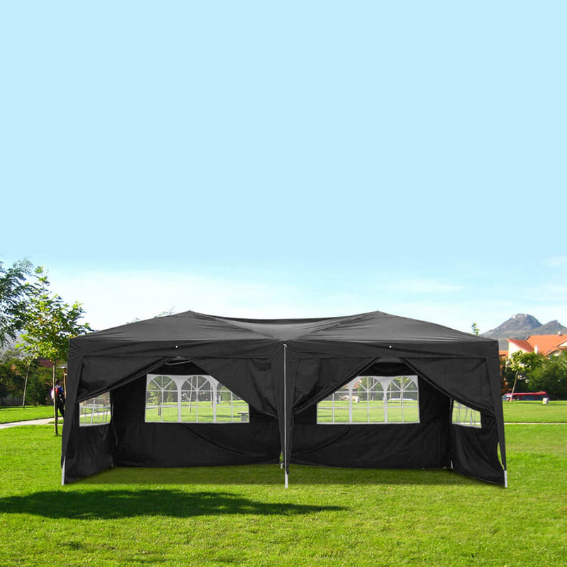 Homhum 10 x 20 ft Waterproof Folding Canopy Tent with Four Windows, Black