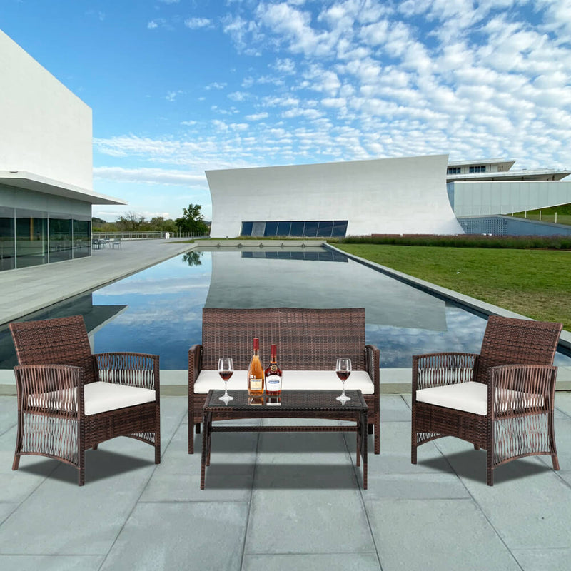 4-Piece Wicker Patio Chairs Furniture Set, PE Rattan Sectional Sofa Conversation Set with Cushions & Tempered Glass Tabletop