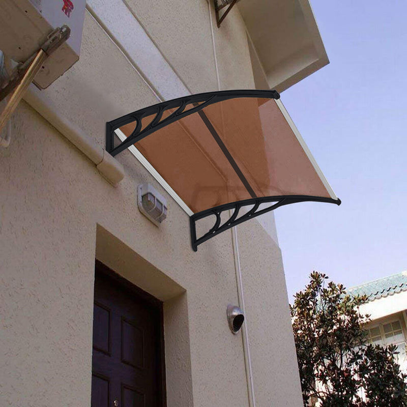 "40"" x 40"" Door Window Awning, Front Door Outdoor Patio Awning Canopy UV Protection, Brown Board & Black Bracket"