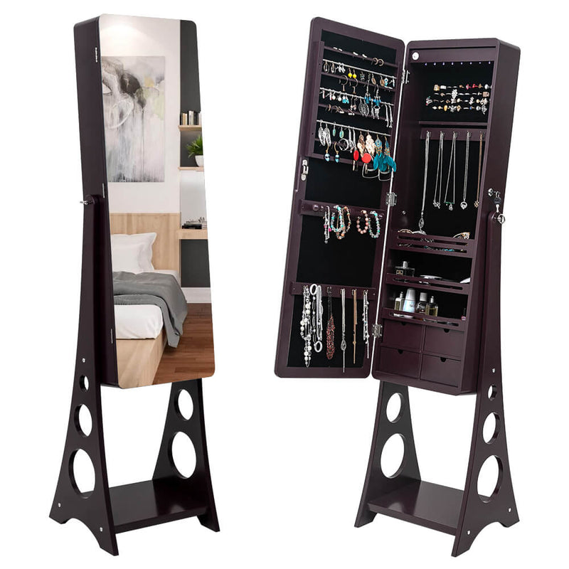Full Mirror Floor Standing 3-Layer Shelf with LED Lights
