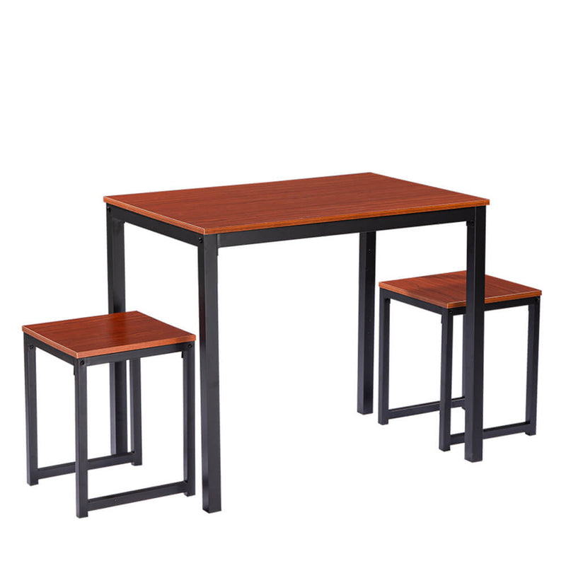 Simple Wood Grain 75cm High Dining Table And Chair Three-Piece Cherry Wood Color