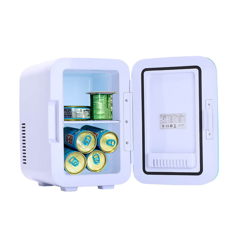 6L Electric Mini Refrigerator, Portable Electric Cooler & Warmer with Handle, Compact Car Refrigerator Cooler, Blue