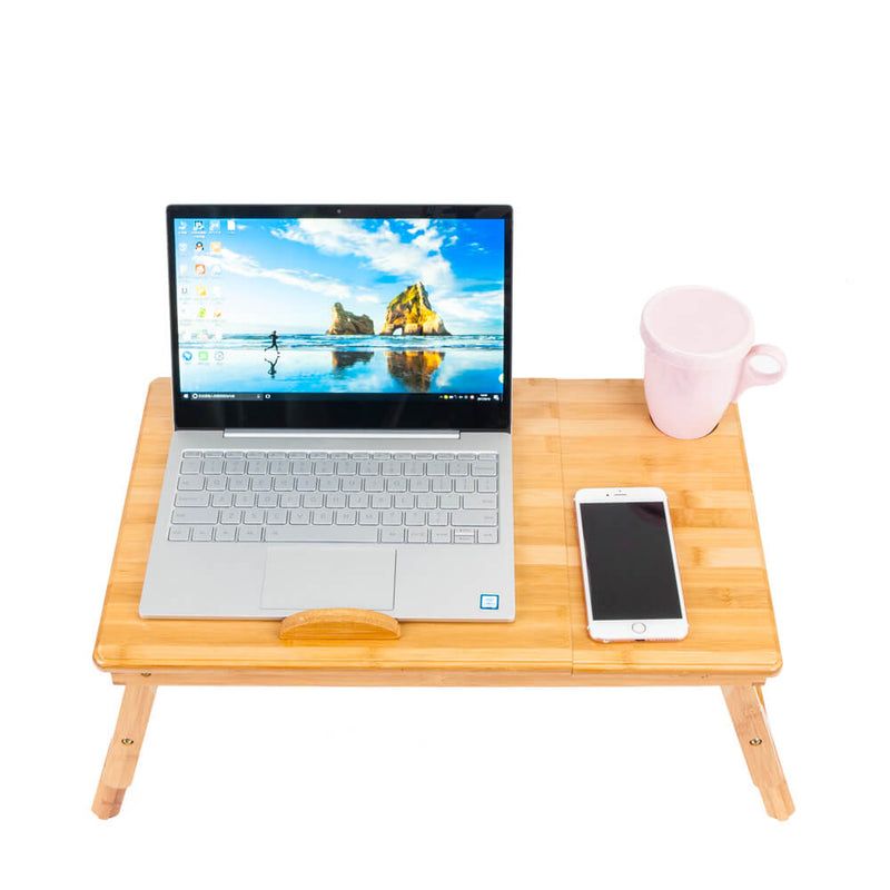 Smooth Adjustable Computer Desk with Cup Stand Wood Color, 21 inches