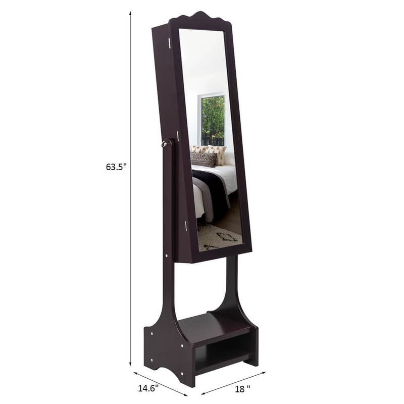 3-Layer Shelf With Inner Mirror Jewelry Storage Cabinet Brown