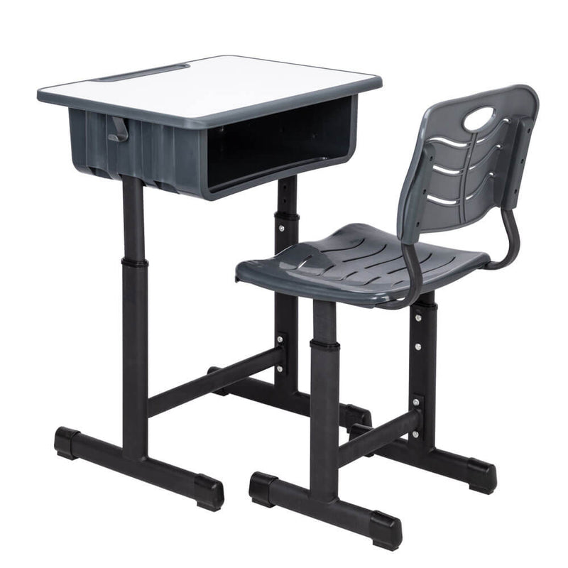 Lifting Children Multifunctional Study Desk and Chair Set with Storage Bin Blak