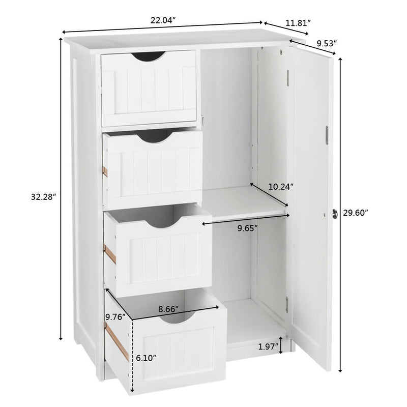 Single Door Bathroom Storage Cabinet with 4 Drawers White