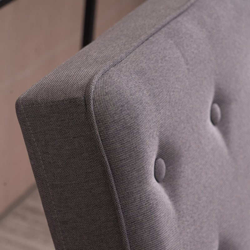 Mid-Century Retro Modern Single Sofa Chair Wooden Arm Chair Grey Fabric
