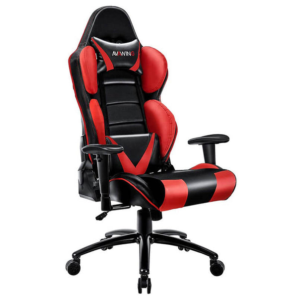 Homhum Ergonomic Reclining Gaming Chair, Leather Racing Chair with High Backrest and Adjustable Seat, E-Sports Chair with Lumbar Pillow, Red