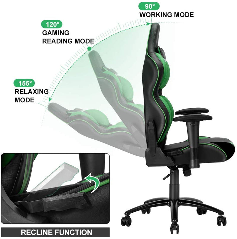 Homhum Ergonomic Reclining Gaming Chair, Leather Racing Chair with High Backrest and Adjustable Seat, E-Sports Chair with Lumbar Pillow, Green
