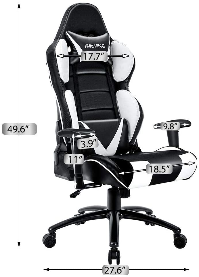 Homhum Ergonomic Reclining Gaming Chair, Leather Racing Chair with High Backrest and Adjustable Seat, E-Sports Chair with Lumbar Pillow, White