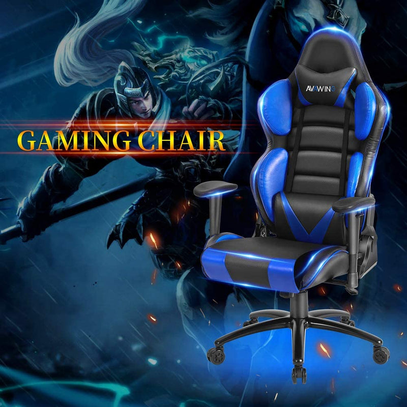 Ergonomic Reclining Gaming Chair, Leather Racing Chair with High Backrest and Adjustable Seat, E-Sports Chair with Lumbar Pillow, Blue