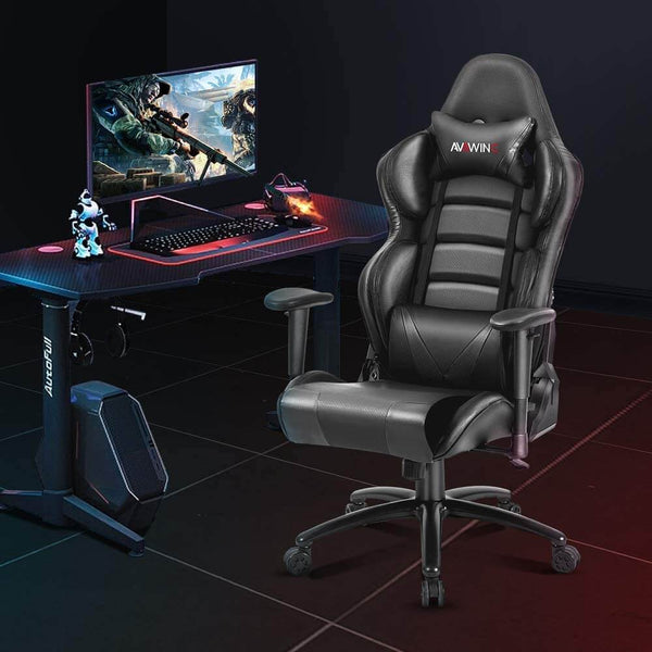 Homhum Ergonomic Reclining Gaming Chair, Leather Racing Chair with High Backrest and Adjustable Seat, E-Sports Chair with Lumbar Pillow, Black