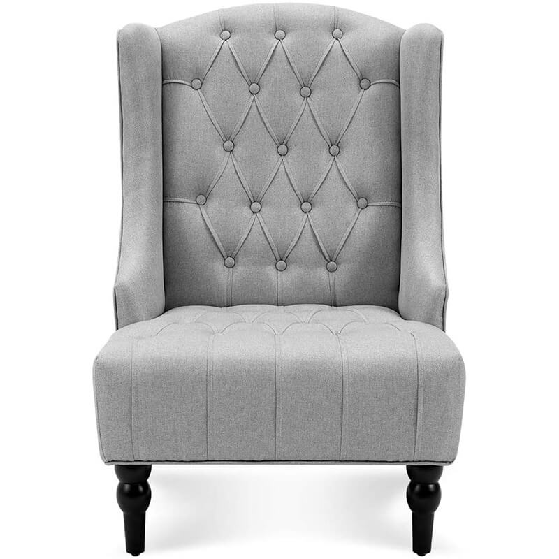 High-Back Fabric Club Chair, Wingback Chair, Modern Accent Chair for Living Room, Bedroom, Gray