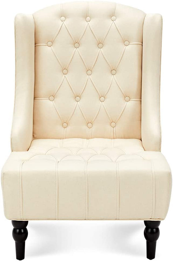 High-Back Fabric Club Chair, Wingback Chair, Modern Accent Chair for Living Room, Bedroom, Creamy White