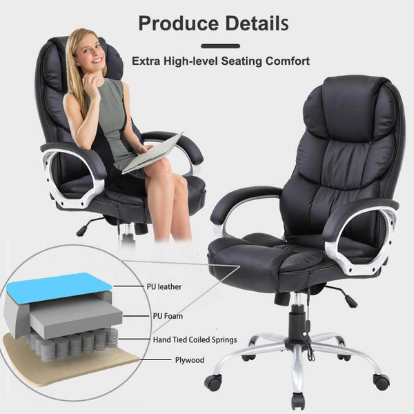 Home Office Chair Massage Desk Chair, Ergonomic Computer Chair with Lumbar Support Headrest Armrest, Black