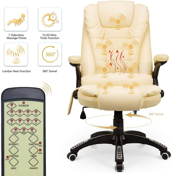 Ergonomic Office Chair High Back PU Leather Computer Chair Height Adjustable Desk Chair Heated Massage Recliner Chair with Lumbar Support, Cream
