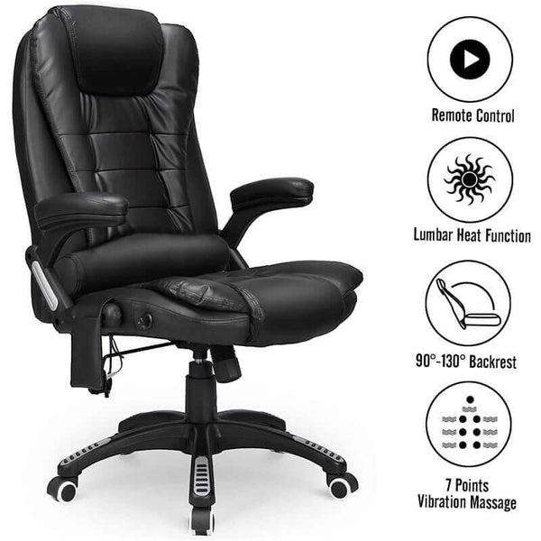 Ergonomic Office Chair High Back PU Leather Computer Chair Height Adjustable Desk Chair Heated Massage Recliner Chair with Lumbar Support, Black