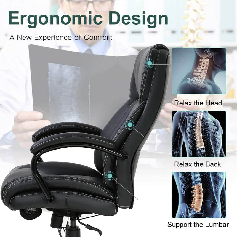 Big and Tall Office Chair 500lb Wide Seat Desk Chair with Lumbar Support, PU Leather Computer Chair