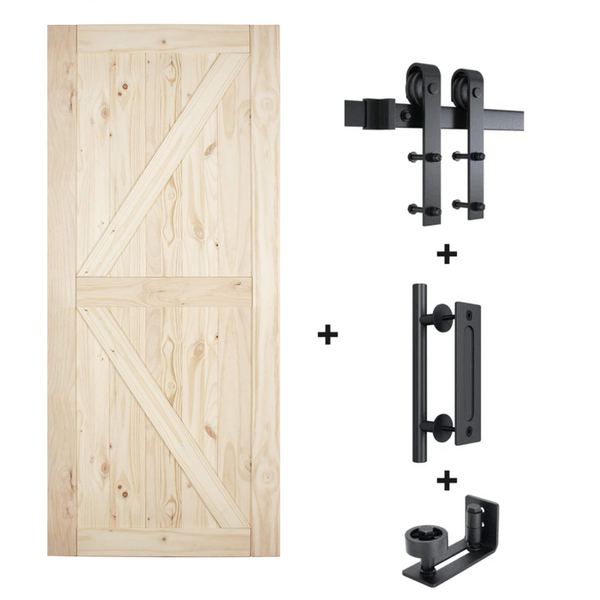 6.6 Ft J Shape Sliding Barn Door Hardware Kit With Pine Door (Whole Set)