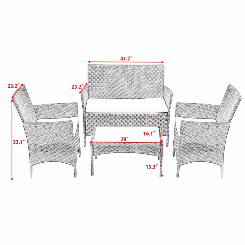HomHum 4 PC Patio Rattan Wicker Chair Sofa Table Set Outdoor Garden Furniture Cushioned Outdoor Furniture HW52188