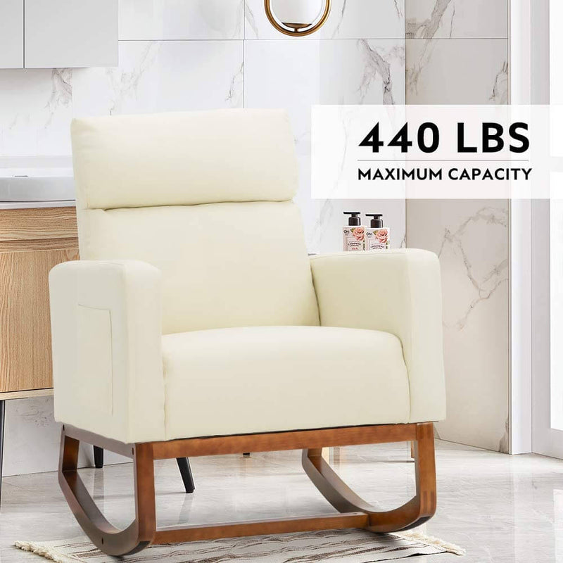 Rocking Chair Rocking Chair Upholstered Living Room Chair with Massage Function, White