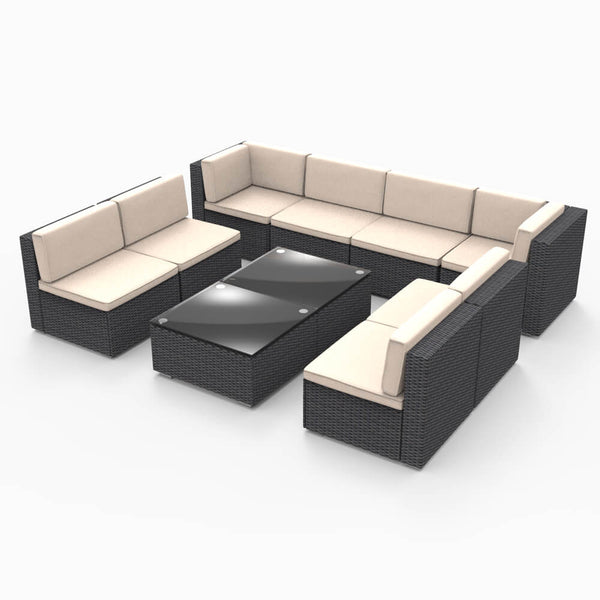 10 Pieces Patio PE Rattan Wicker Sofa Set Outdoor Sectional Furniture Conversation Chair Set with Cushions and Tea Table Black