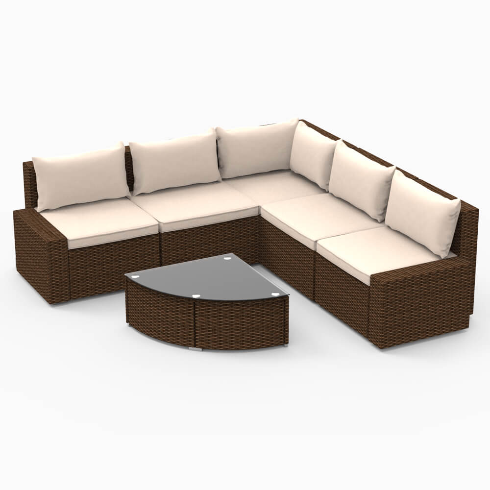 Strange U Max Patio Pe Rattan Wicker Sofa Set Outdoor Sectional Furniture Chair Set With Cushions And Tea Table 6 Pieces Brown Pdpeps Interior Chair Design Pdpepsorg