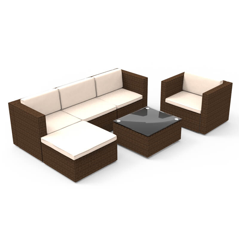 Wondrous U Max 6 Pieces Patio Pe Rattan Wicker Sofa Set Outdoor Sectional Furniture Conversation Chair Set With Ottoman Cushions And Tea Table Brown Inzonedesignstudio Interior Chair Design Inzonedesignstudiocom