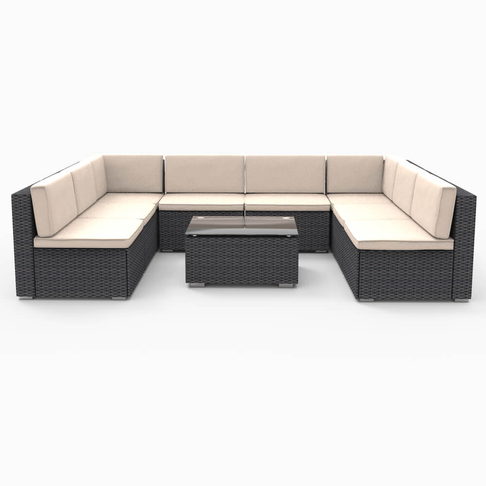 Marvelous 9 Pieces Patio Pe Rattan Wicker Sofa Set Outdoor Sectional Furniture Conversation Chairs Set With Cushions And Tea Table Black Inzonedesignstudio Interior Chair Design Inzonedesignstudiocom